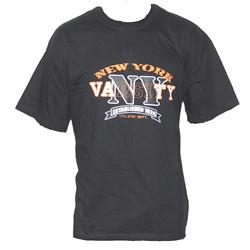 Black Cotton Orange Varsity Print Men's T-Shirt