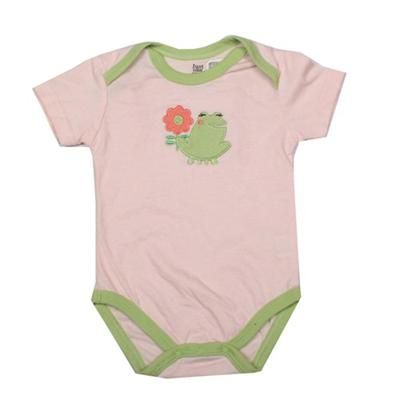 Caters Peach/Green Baby Romper Wt Frog Design