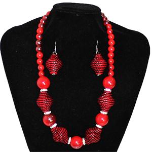 Arabian Beaded Necklace And Earring Set
