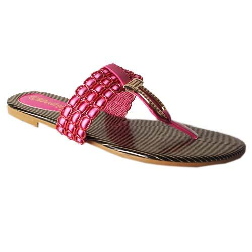 WD Pink/Gold Leather Ladies Flat Slippers