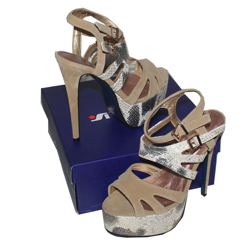Taiyu Beige Leather/Suede 6'' Heel Sandal