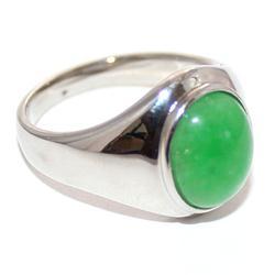 Silver Pattern Men's Rings wt Green Stone