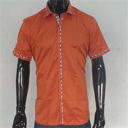 Rio Ricci Orange/Red Men's Slim fitted S/Sleeve Shirt