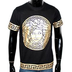 Versace Black Cotton Medusa Print Men's   T-Shirt