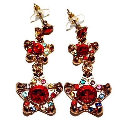 Fashion Bronze/Red Mix Colour Drop Earring