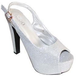 Aldo Silver Leather Ladies High Heel Slingback Sandal