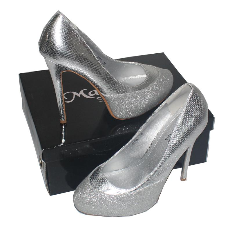 Mareska Silver Animal Print/Glittering 5'' Italian  Shoe