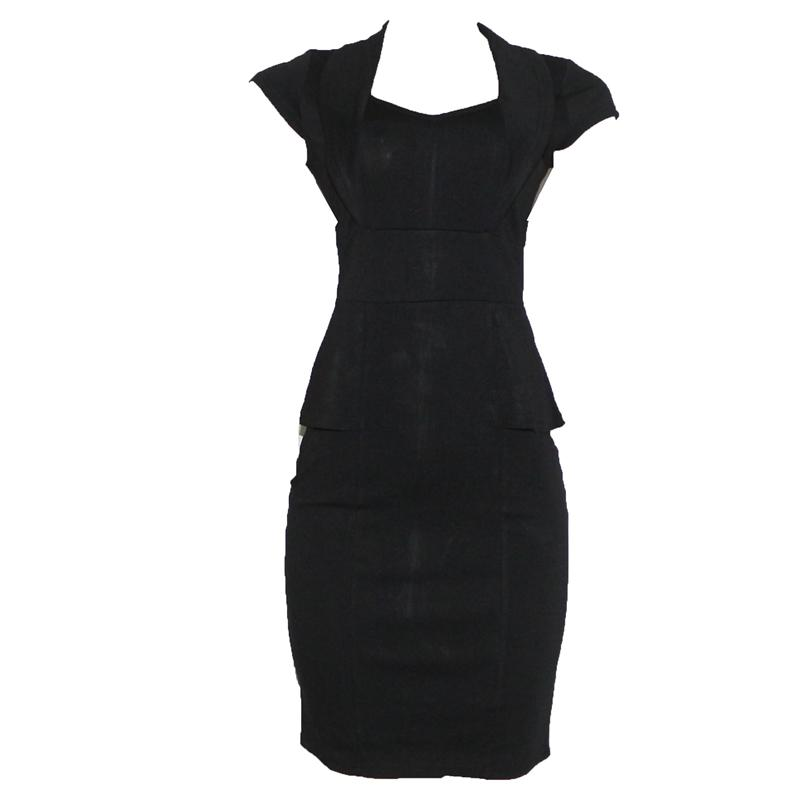 Nice Forever Black Plunging Neck Ladies Dress