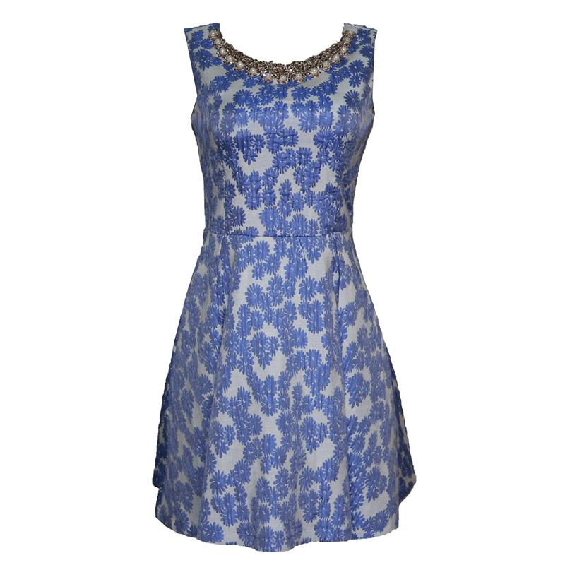 AYLIZ Blue/Cream Beads Design Cotton  Dress