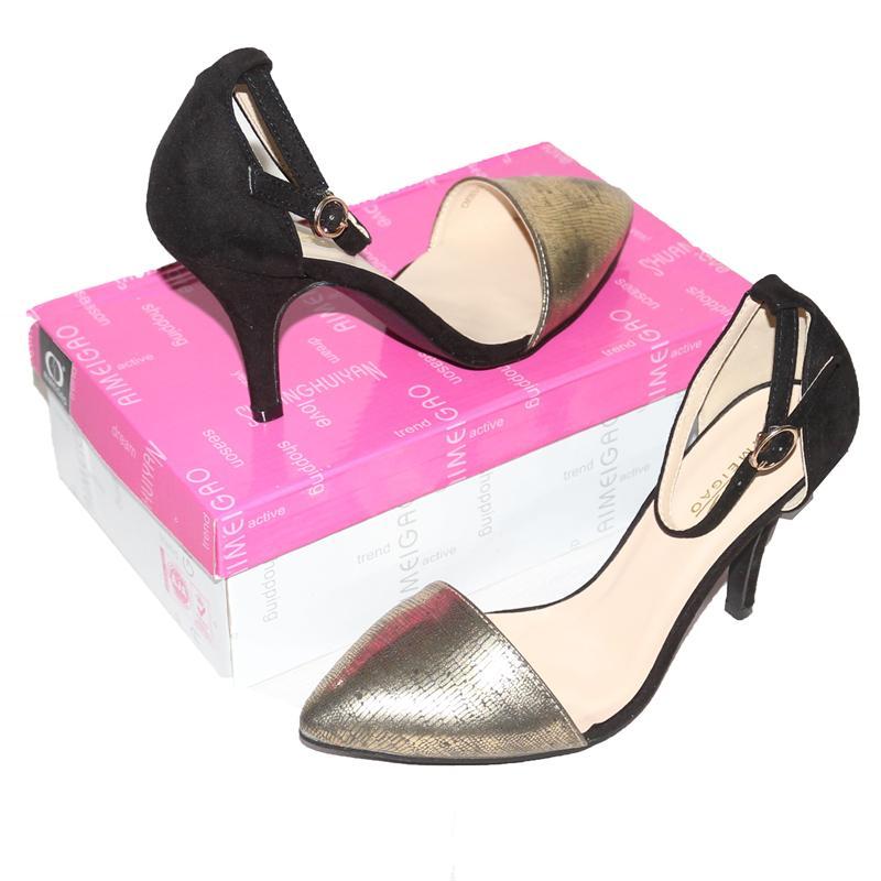 Aim Gold/Black Suede/Leather 3.5'' Heel Sandals