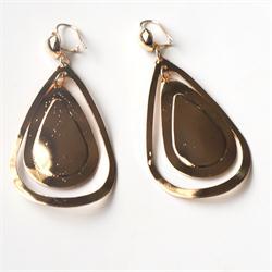 Gold Oval Shape Drop Fashion Earrings