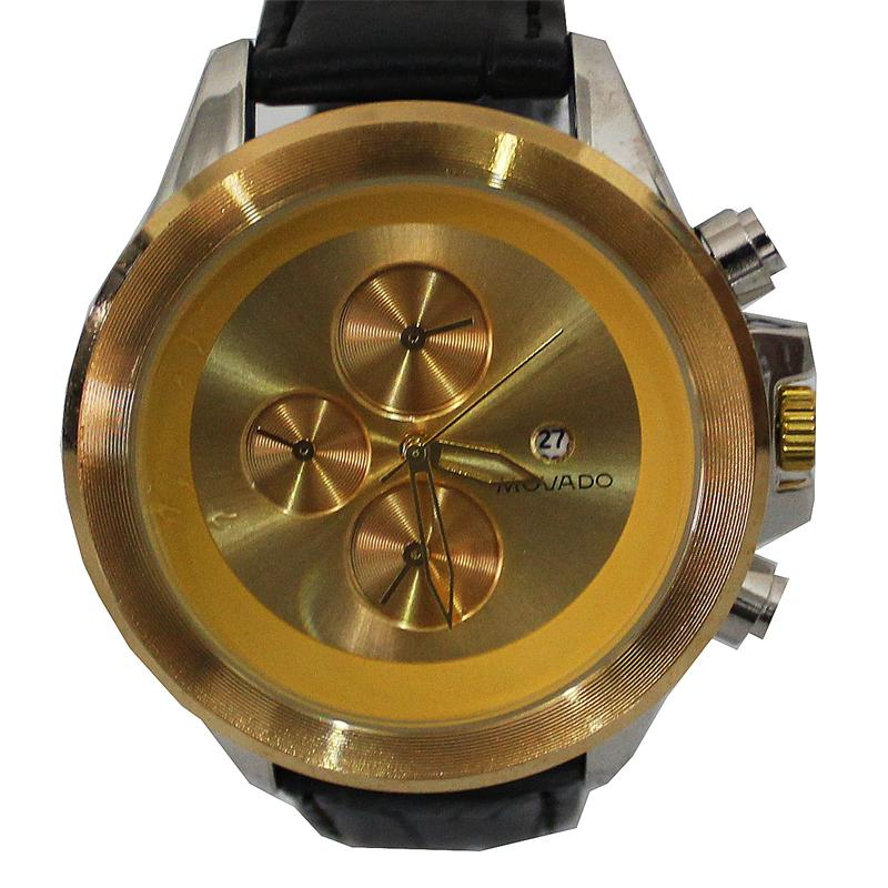 Movado Black Leather Silver/Gold Face Men's Watch