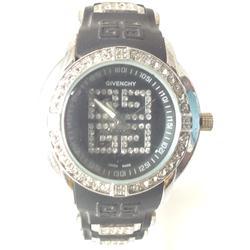 Givenchy Black Rubber Strap Ladies Watch wt Stones Design