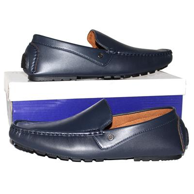 Jiaozu Blue Leather Men's Loafers