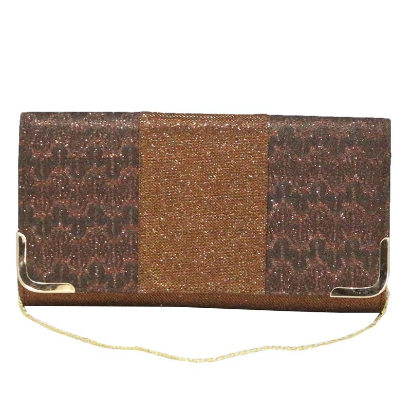 Coffee Fabric Rec Evening Clutch Bag wt Gold Trim