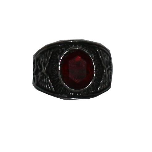 United States Matines Silver/Red Stone Bishop Ring