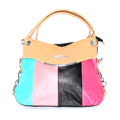 Black/Multicolor Design Leather Ladies Handbag