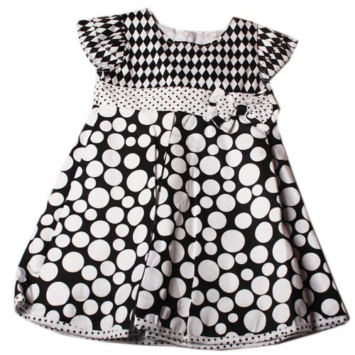 Butterfly White/Black Polka Dot Girls Dress
