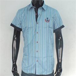 Rio Ricci Turquoise/Orange Stripe Men's Slim fitted S/Sleeve Shirt