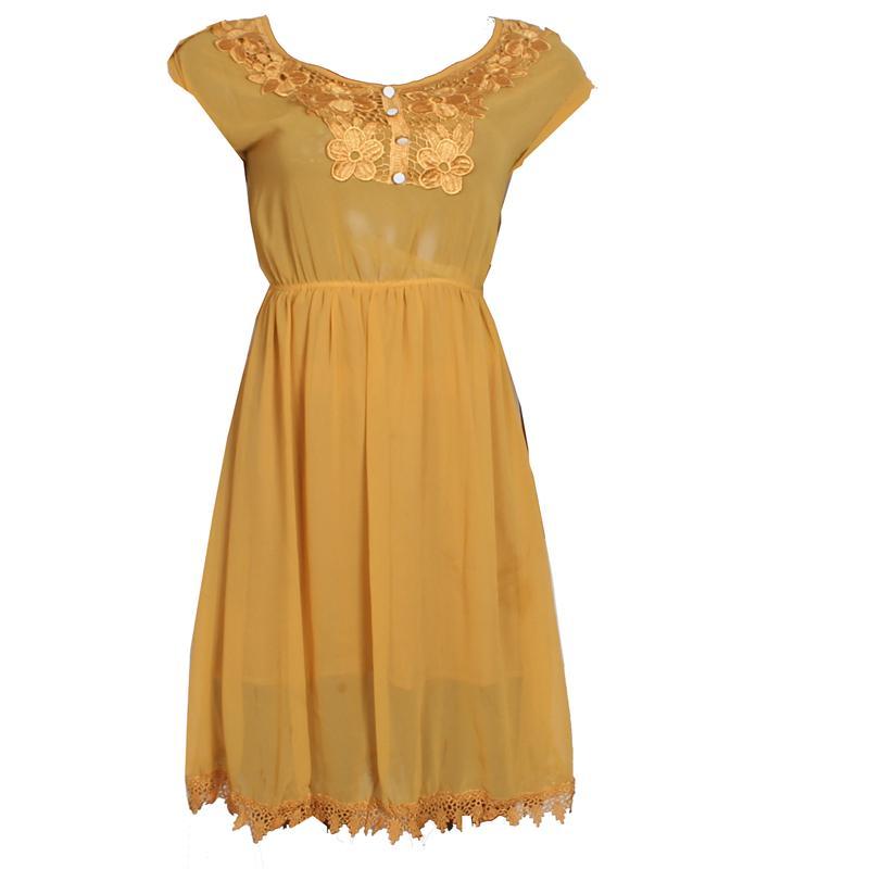 Pally Deep Yellow Chiffon Armless Ladies Dress