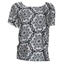 M&S Black Mix Floral Design S/Sleeve Cotton/Chiffon Ladies Top
