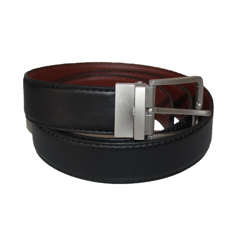 Black/Brown Leather Silver Buckle Men's Belt