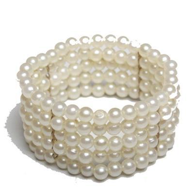 Cream Bead Bracelet Wt White Stones