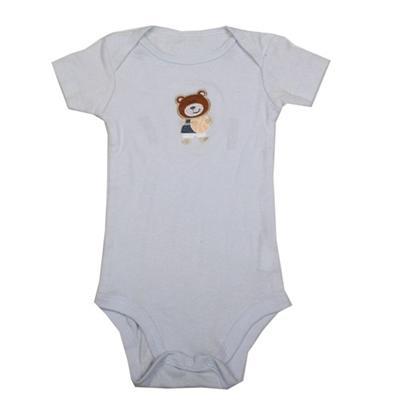 Light Blue Baby Romper Wt Bear Design Infant