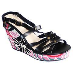 Coka Black/Green/Pink Leather/Fabric Ladies Wedge Sandal