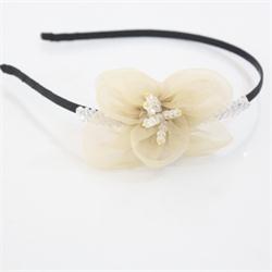 Beige/Black Fabric Girls Elastic Bead/Stone Hairband