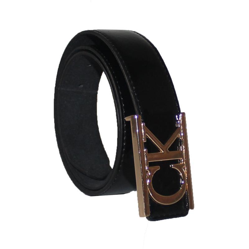 CK Black Leather Bronze Buckle Men's Belt