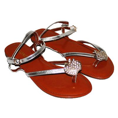 Xoxo Silver Leather Strap Brown Sole Ladies Flat sandals