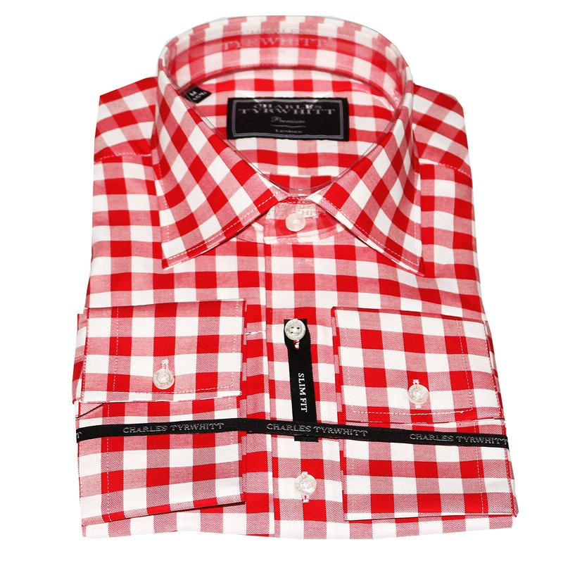 Charles Tyrwhitt Red/White Check Cotton Men's Premium Shirt