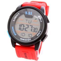 Sureshot 5:11 Red/Black Rubber Strap Men's Digital Watch wt Blue Click