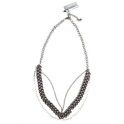 Juelz Dark Silver Beaded Bunch Necklace Wt Chain