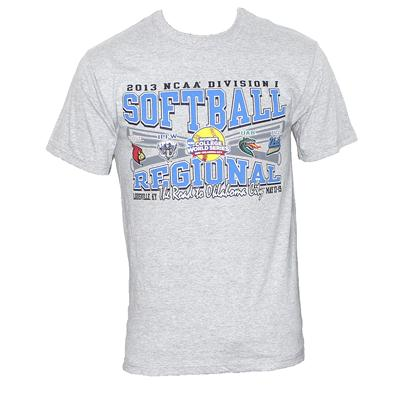 Gear Grey Cotton Blue/Black Softball Print Men's T-Shirt