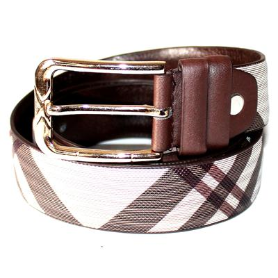 Brown/White Printed Leather Gold Buckle Men's Belt