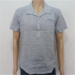 Cisse Negro Gray/White Stripe Short Sleeve Men's Shirt