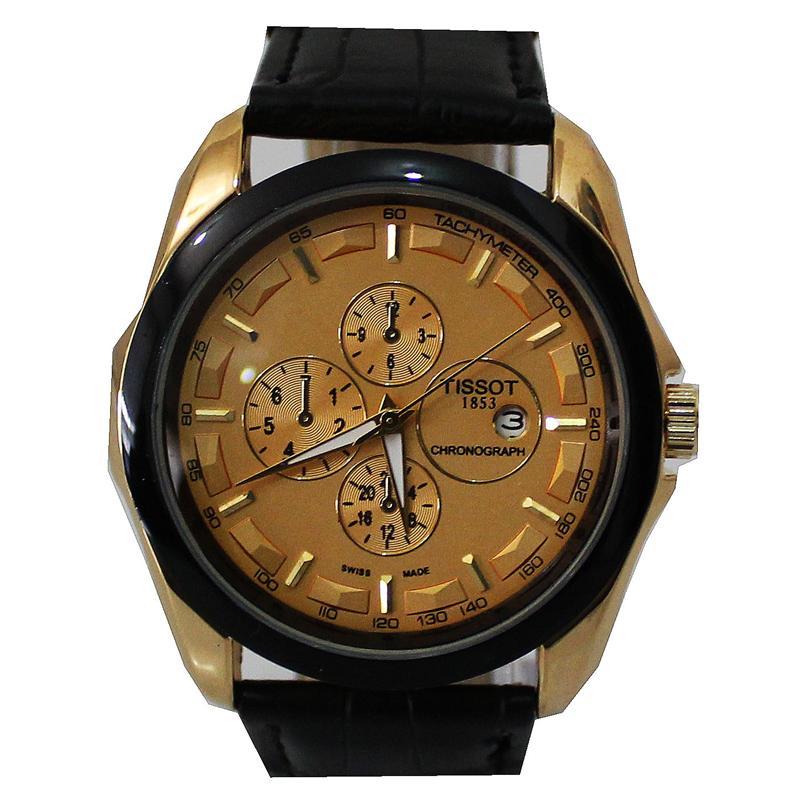Tissot Black Leather Gold Rim Men's Watch