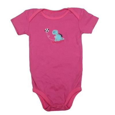 Deep Pink Baby Romper Wt Dinosaur Design Infant