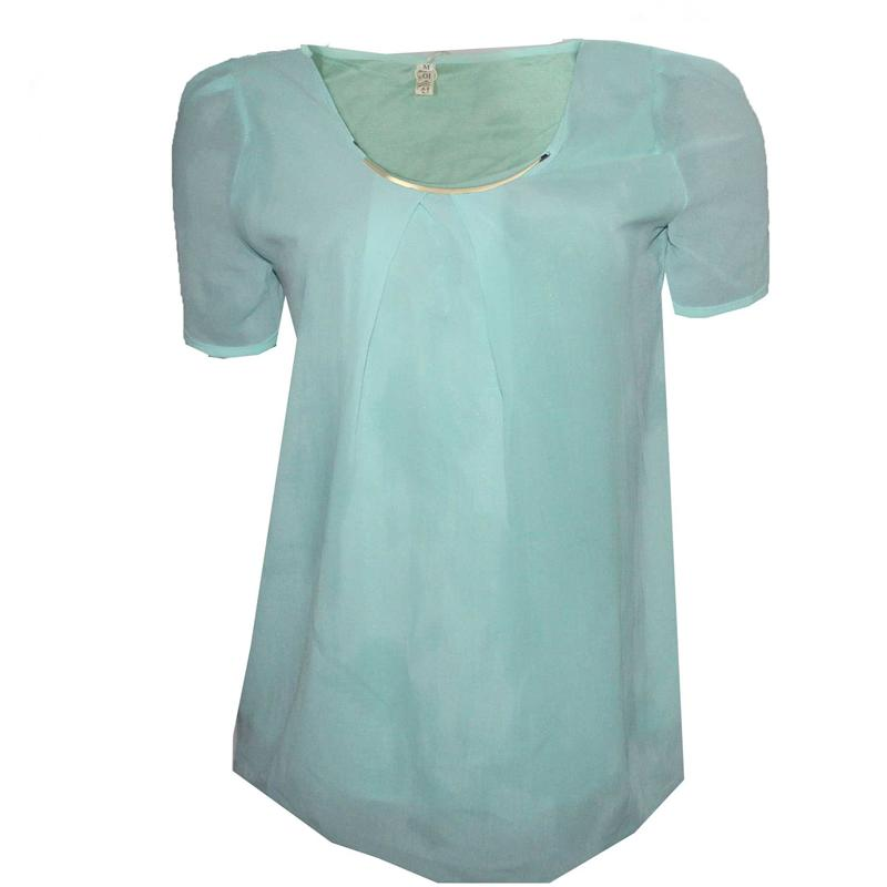 YBS Turquoise Blue Ladies Chiffon Top