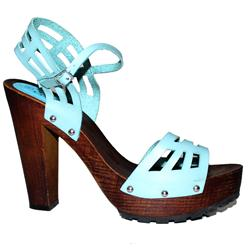 Clowse Sky Blue Leather Ladies Wooden Block 5Inch Heel Sandal