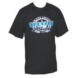 Gildan Black Cotton Blue NY All Star Print Men's T-Shirt