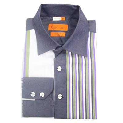 Euro White/Navy/Purple/Green Cotton Stripe Formal L/Sleeve Shirt