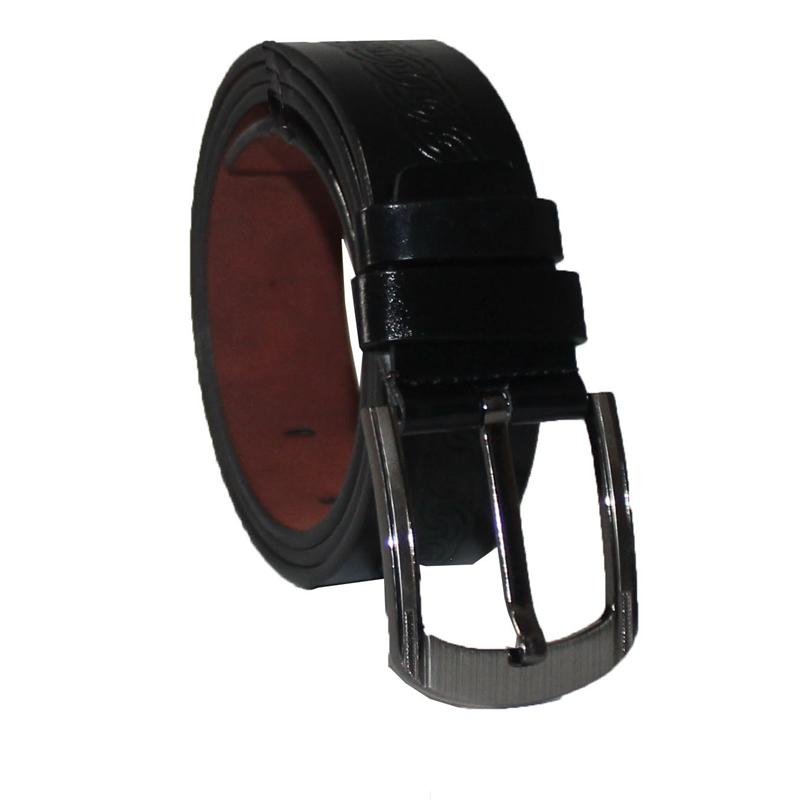 Black Leather Pattern Men's Belt