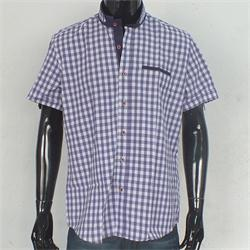 Rio Ricci Purple/White Checked Men's Slim fitted S/Sleeve Shirt
