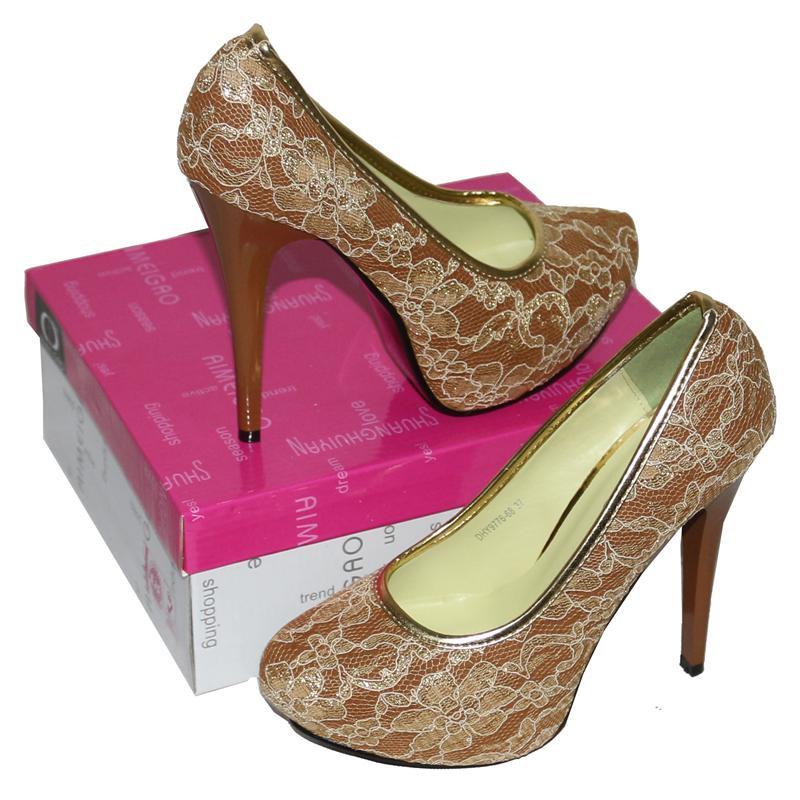 Aim Brown-Gold Fabric/Leather 5'' Heel Shoe