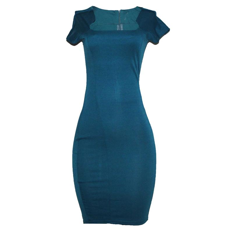 Nice Forever Green Sheath Cotton Ladies Dress wt Back Zipper