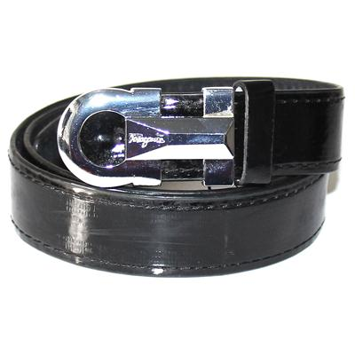 Ferragamo Black Patent Leather Silver Buckle Men's Belt