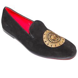 Versace Black Suede Men's Medusa Embroidery Design Casual Shoe